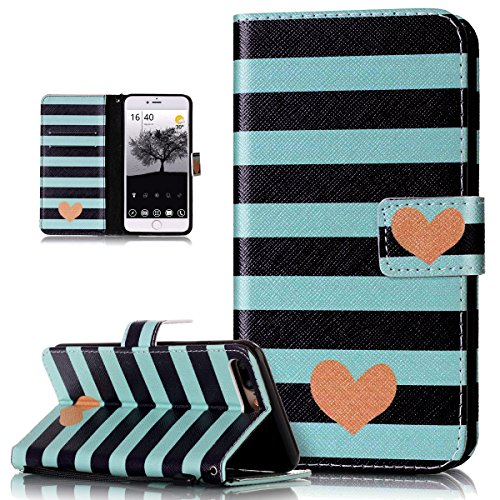 Price comparison product image iPhone 8 Plus Case,iPhone 7 Plus Case,ikasus Colorful Art Painted PU Leather Fold Flip Wallet Cover Stand Card Slots Protective Case Cover for Apple iPhone 8 Plus / iPhone 7 Plus,Striped Love