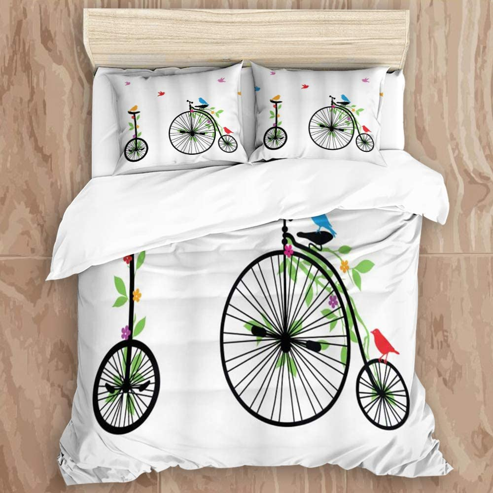 """GLONLY 3pcs Bedding Set,Bicycle Flying Birds and Flowers on Old Single Wheel Bikes Happiness and Joy Pedals Graphic,Latest Style Duvet Cover & 2 Pillow Shams Unique Microfiber Quilt Cover 88"""" 88"""""""