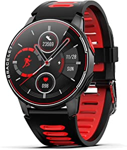 JOAVANI Smart Watch for Android, iPhone. Smartwatches for Men, Kid, Women, Health Fitness Tracker with Full Touch, IP68 Waterproof, Bluetooth, Sleep/BP/Heart Rate Monitor (Long Battery) (Black-red)
