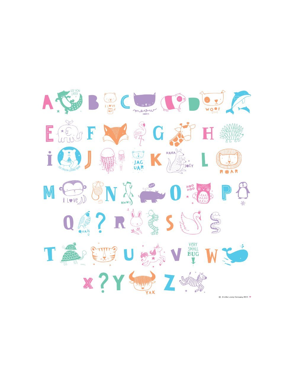 A Little Lovely Company 171-016 - Letras y símbolos