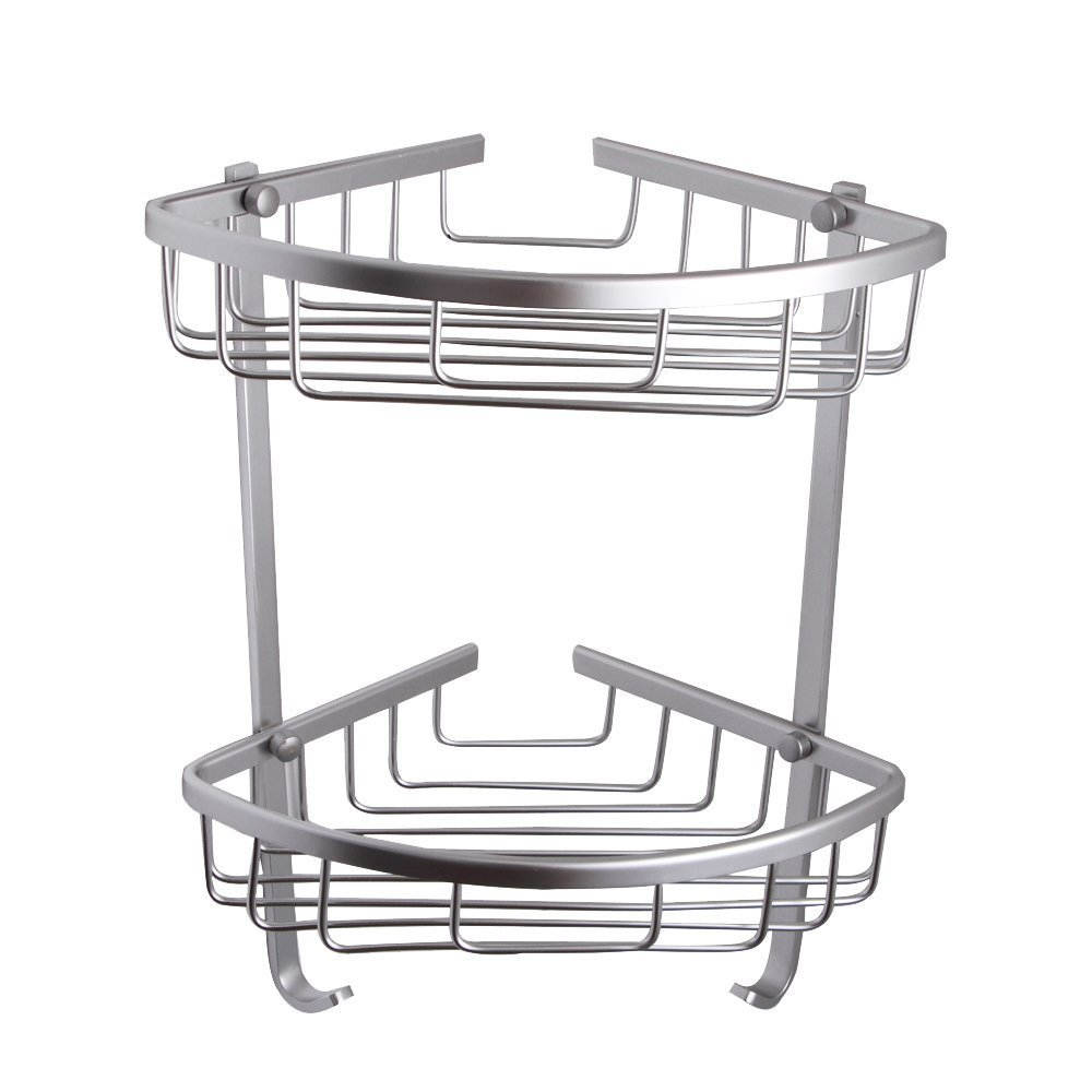 BOEN A11052 Bathroom Rustproof Aluminum 2-Tier Corner Shelf Basket Wall Mounted, Silver Sand Sprayed