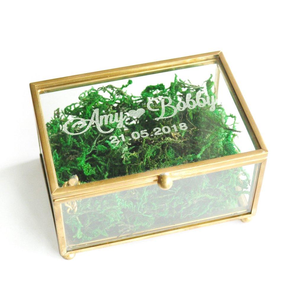 Rustic Wedding Ring Box, Custom Glass Wedding Ring Bearer Ring Pillow Box Jewellery Keepsake weddinghanger2015