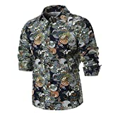 Men's Print Shirt Unique Long Sleeve Retro Vintage Novelty Floral Blouse Shirts Zulmaliu (M, Black)