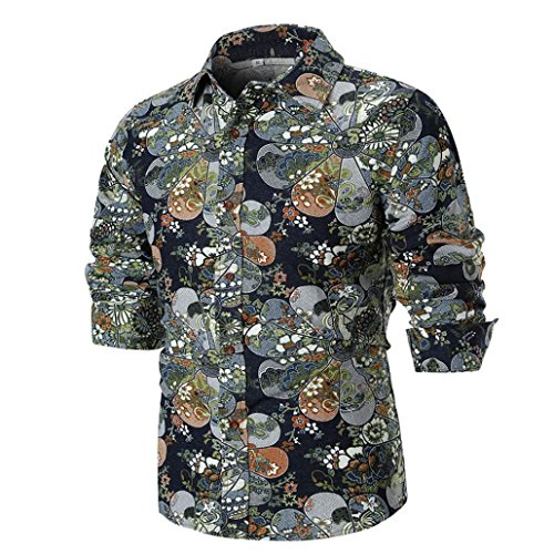 Men's Print Shirt Unique Long Sleeve Retro Vintage Novelty Floral Blouse Shirts Zulmaliu (M, Black) by Zulmaliu-Shirts 2018