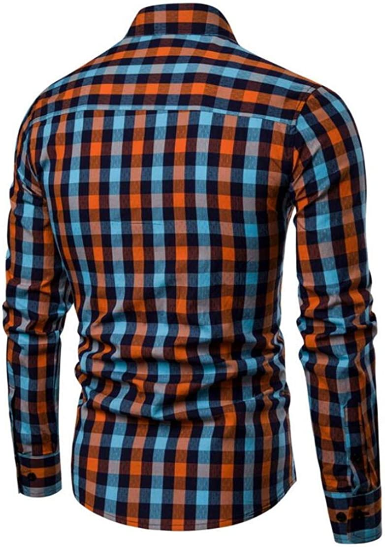 Gnao Mens Plaid Formal Classic Button Up Long Sleeve Dress Shirts