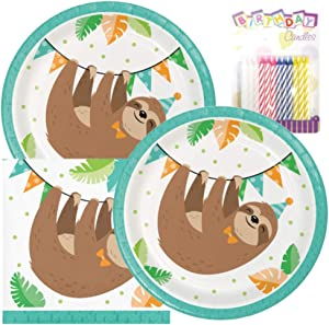 "Sloth Party Birthday Party Pack – Includes 7"" Paper Plates & Beverage Napkins Plus 24 Birthday Candles – Serves 16"