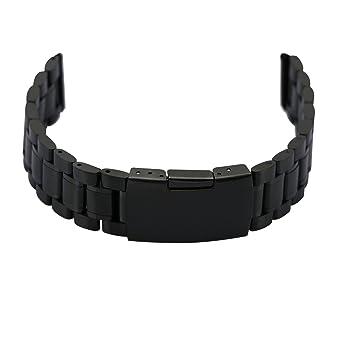 Damenuhren schwarz metall  Zeiger Uhrenarmband 20mm Edelstahl Uhr Armbänder Schwarz ...