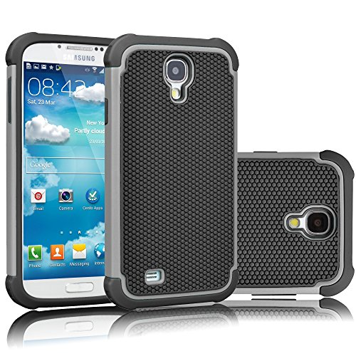 Tekcoo for Galaxy S4 Case, [Tmajor Series] [Gray/Black] Shock Absorbing Hybrid Rubber Plastic Impact Defender Rugged Slim Hard Case Cover Shell for Samsung Galaxy S4 S IV I9500 GS4 All Carriers