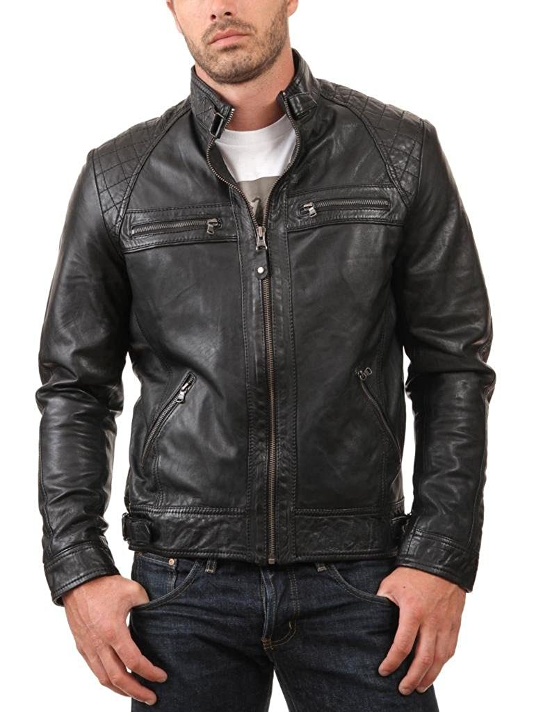 ABDys Mens Lambskin Leather jacket DKL738 Black at Amazon Mens Clothing store: