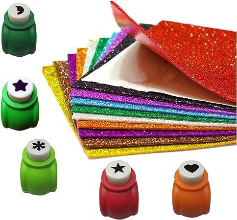 YOFASEN 5pcs Mini Paper Punch + 10pcs Pegatina De Lentejuelas De ...