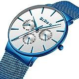 Men's Watch Fashion Classic Blue Man's Best Gift Waterproof Multifunction Mesh Belt Watches