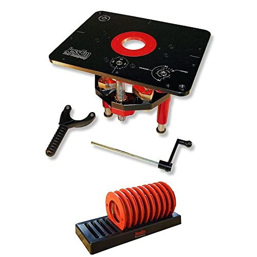 JessEm 02120 Mast-R-Lift II Router Lift 02030 10-Piece Insert Ring Kit with Caddy Bundle
