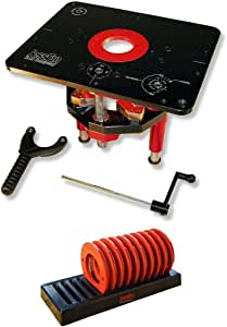 JessEm 02120 Mast-R-Lift II Router Lift + 02030 10-Piece Insert Ring Kit with Caddy Bundle