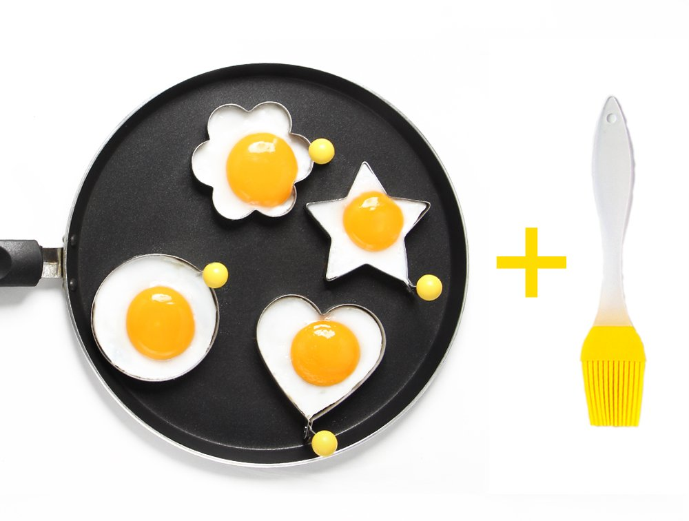 ShengHai Fried Egg Mold Ring Pancake Cooker, Nonstick Stainless Steel Egg Form for Frying Cooking, Set of 4 With 1 Free Silicone Brush 1 ENJOY A COLORFUL BREAKFAST - 4PCS Different Shapes Fried Egg Ring Set: heart; Star; Round and Plum Flower. Avoid boring. Special design for cooking eggs or pancakes for your lover as well as your family. Cute for Fun Food - You can make pancake or egg more interesting with funny shapes. Good for the picky eater especially kids. HIGHER QUALITY: Made of food grade stainless steel. You can also use the egg and pancake molds to make any delicacy you can think about, such as cookies, dessert, jelly, pastry, chapatti. Just have them and get your imagination started!