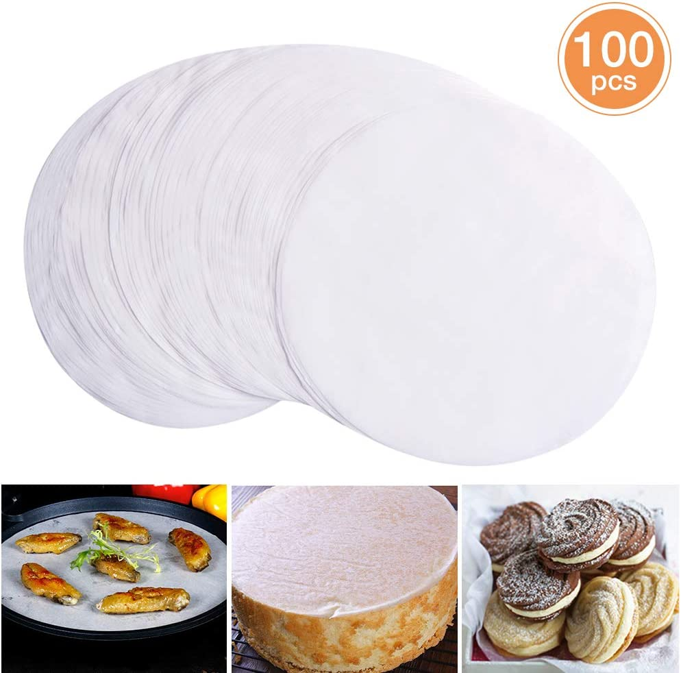 100 PCS Parchment Paper, 12 Inch Round Baking Paper Liners, Unbleached Barbecue Paper Baking Sheets for Cooking, Steaming, Baking Cakes, Cookies, Pastries, Dutch Oven, Air Fryer, Tart Pan and BBQ