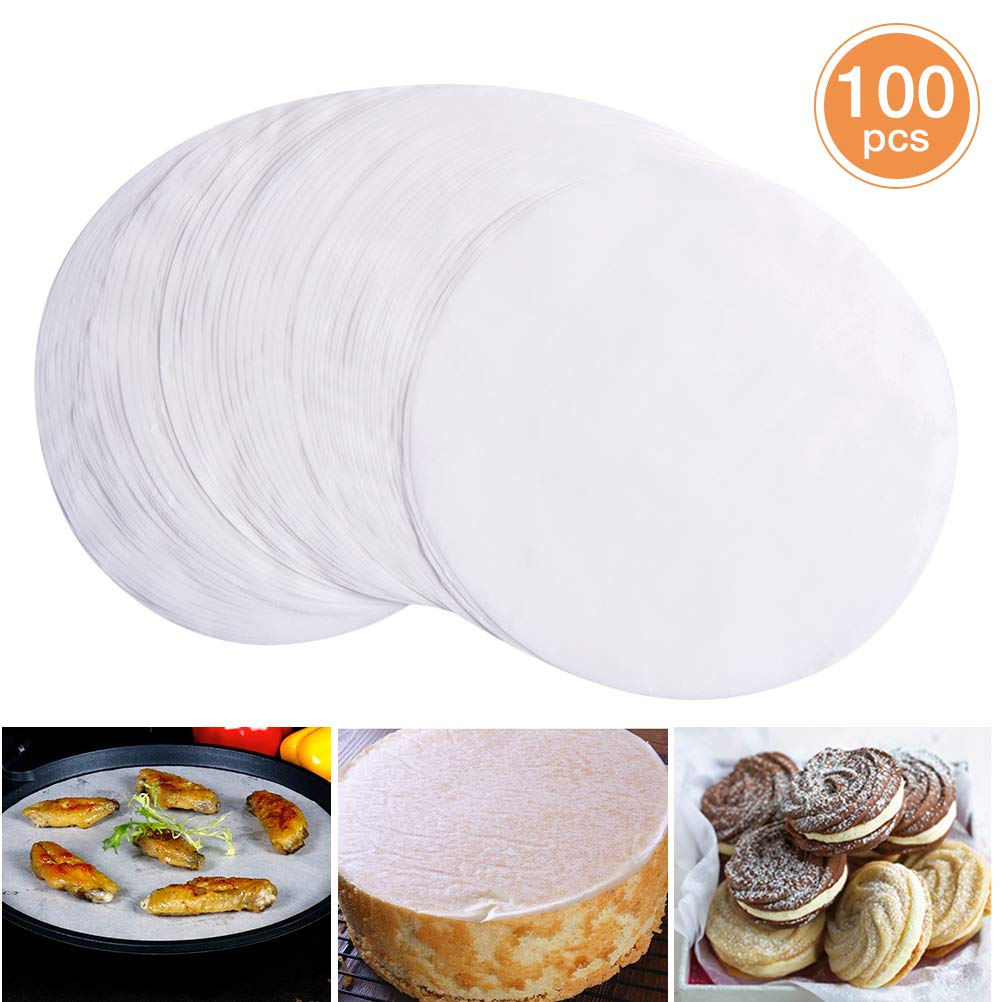 100 PCS Parchment Paper, 8 Inch Round Baking Paper Liners, Unbleached Barbecue Paper Baking Sheets for Cooking, Steaming, Baking Cakes, Cookies, Pastries, Dutch Oven, Air Fryer, Tart Pan and BBQ