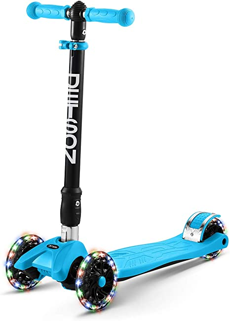 Max Grip Light Up Deck and PVC Wheels Jetson 3 Wheel Light-Up Kick Scooter Adjustable Height Ages 3+