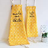 Makimoo Kitchen Bib Apron Set, 2 Pack Adjustable Cotton Linen Chef Cooking Aprons with Pockets For Mom and Daughter Girls Kids, Perfect Gift Yellow