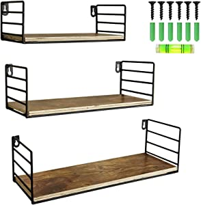 Floating Wall Shelf Storage Organizer for Shower Bathroom Bedroom Bedside Living Room Kitchen Hanging Wall Mount Shelves, Set of 3