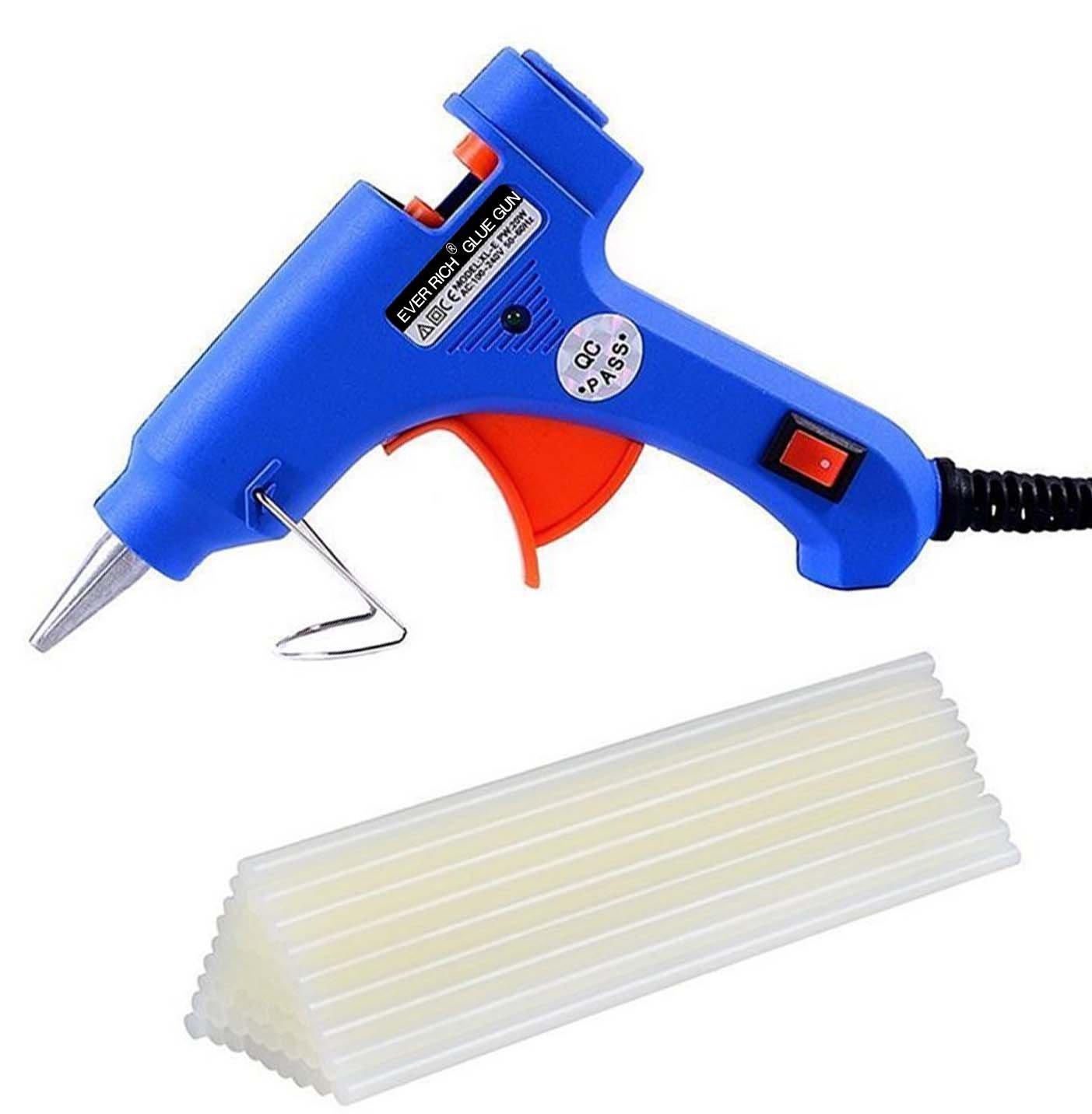 Ever Rich ® Pistolet à colle électrique doté d'un déclencheur Livré avec 50bâtons de colle pour travaux manuels sur carton/bois/verre/métal/tissu/plastique/céramique 20W)
