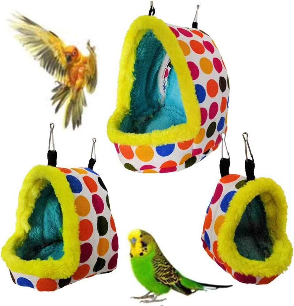 LANGMAN Parrot Perch Tents,Winter Warm Bird Nest House Plush Hammock Hanging Cave Happy Hut Hideaway