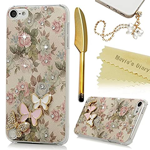 Touch 5 Case,iPod Touch 5th Generation Case - Mavis's Diary 3D Handmade Bling Crystal Lovely Butterflies Shiny Diamonds Clear Hard PC Cover with Colorful Fashion Floral Pattern with Dust Plug & - Juicy Full Diamond