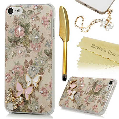 Touch 5 Case,iPod Touch 5th Generation Case – Mavis's Diary 3D Handmade Bling Crystal Lovely Butterflies Shiny Diamonds Clear Hard PC Cover with Color…