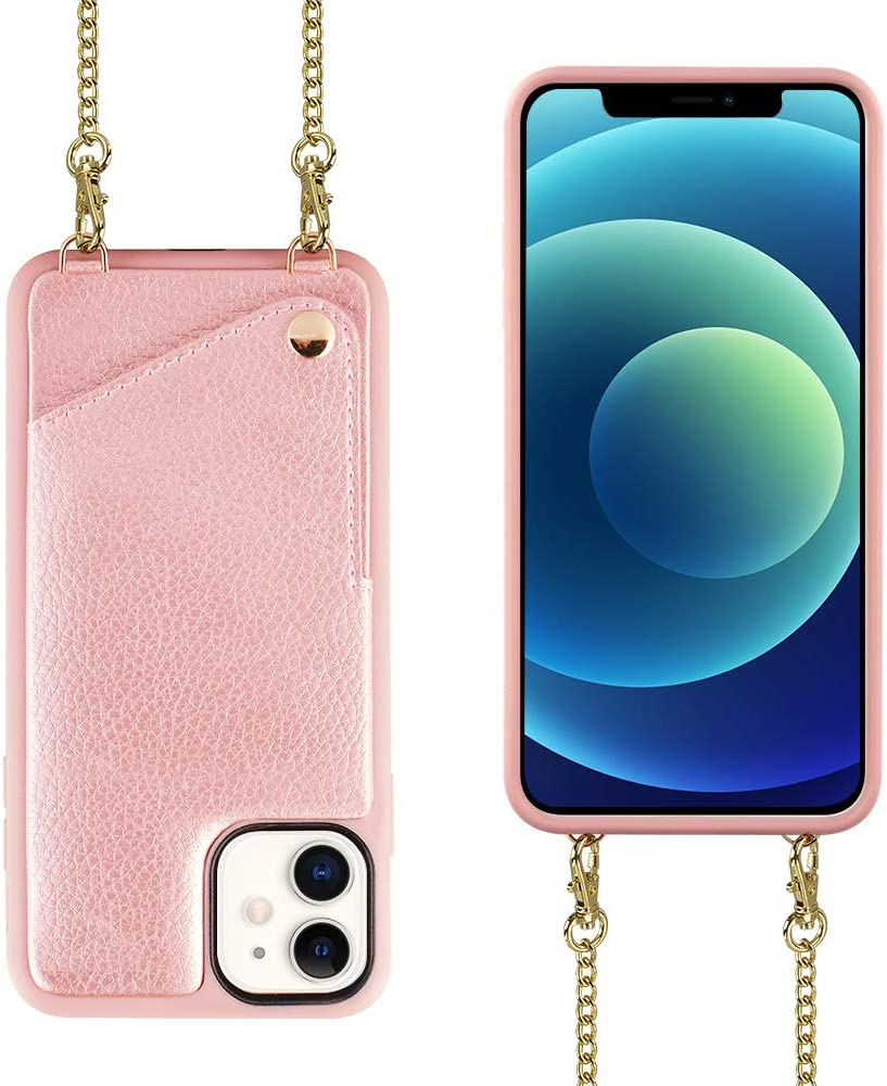 iPhone 12 Wallet Case, 6.1 inch, iPhone 12 Pro Wallet Case, JLFCH Crossbody Case with Credit Card Holder Lanyard Purse Women/Girly Protective for Apple iPhone 12 Pro (2020), 6.1 inch - Rose Gold