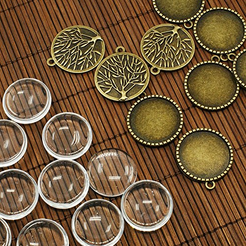 PEPPERLONELY Brand 10 Sets Antiqued Bronze Tree of Life Pendant Cabochon Frame Setting Tray with Clear Round Glass Dome Tile Cabochon 25mm (1 - Glasses Frame Brands