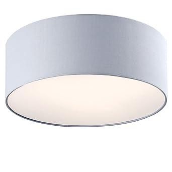 Design Decken Leuchte Schlafzimmer Strahler Textil Lampe rund grau ...