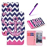 iPod Touch 5 Case,iPod Touch 6 Case,LEECO Fashion Synthetic PU Leather Wallet Type Magnet Design Flip Stand Case Cover for Apple iPod Touch 5 6th Generation + Send 1 Stylus Pen(Pink Wave Anchor)