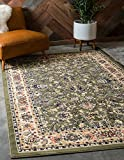 Unique Loom Sialk Hill Collection Traditional Floral Overall Pattern with Border Green Home Décor Area Rug (4' x 6')