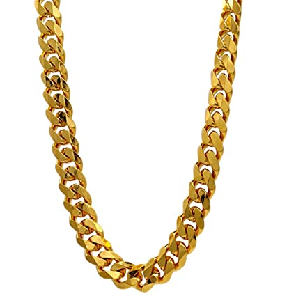 746689211cf9e TUOKAY 18K Gold Flat Chain, 90s Fashion Hip Hop Chain for Women and Men,  Dainty & Sparkling Faux Gold Chain Necklace. 24