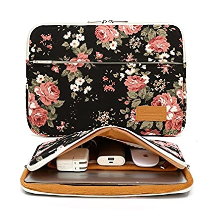 31333582d69d Canvaslife Black Chinese Rose Pattern 360 Degree Protective 13 inch Canvas  Laptop Sleeve with Pocket 13 inch 13.3 inch Laptop case 13 case13 Sleeve