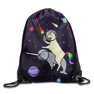 38784b7538 3D Print Drawstring Backpack Rucksack Shoulder Bags Gym Bag Lightweight  Travel Backpack Llamacorn Riding Narwhal In