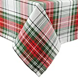 DII Christmas Plaid Square Tablecloth, 100% Cotton with 1/2' Hem, 52x52' - Seats 4