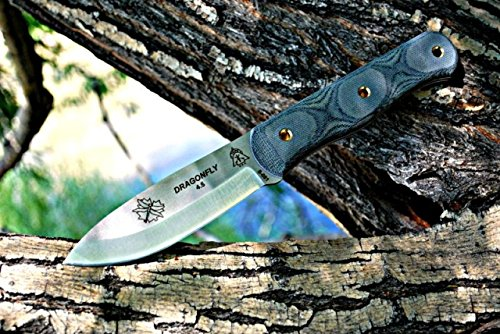 Tops Knives Dragonfly 45 Fixed Blade Knife,4.5in,Tool Steel Blade,Black Canvas Micarta Handle