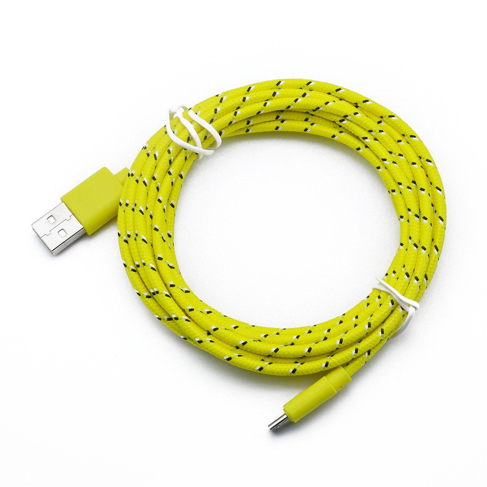Orcbee  _2M Hemp Rope Micro USB Charger Sync Data Cable Cord for Cell Phone (Yellow)