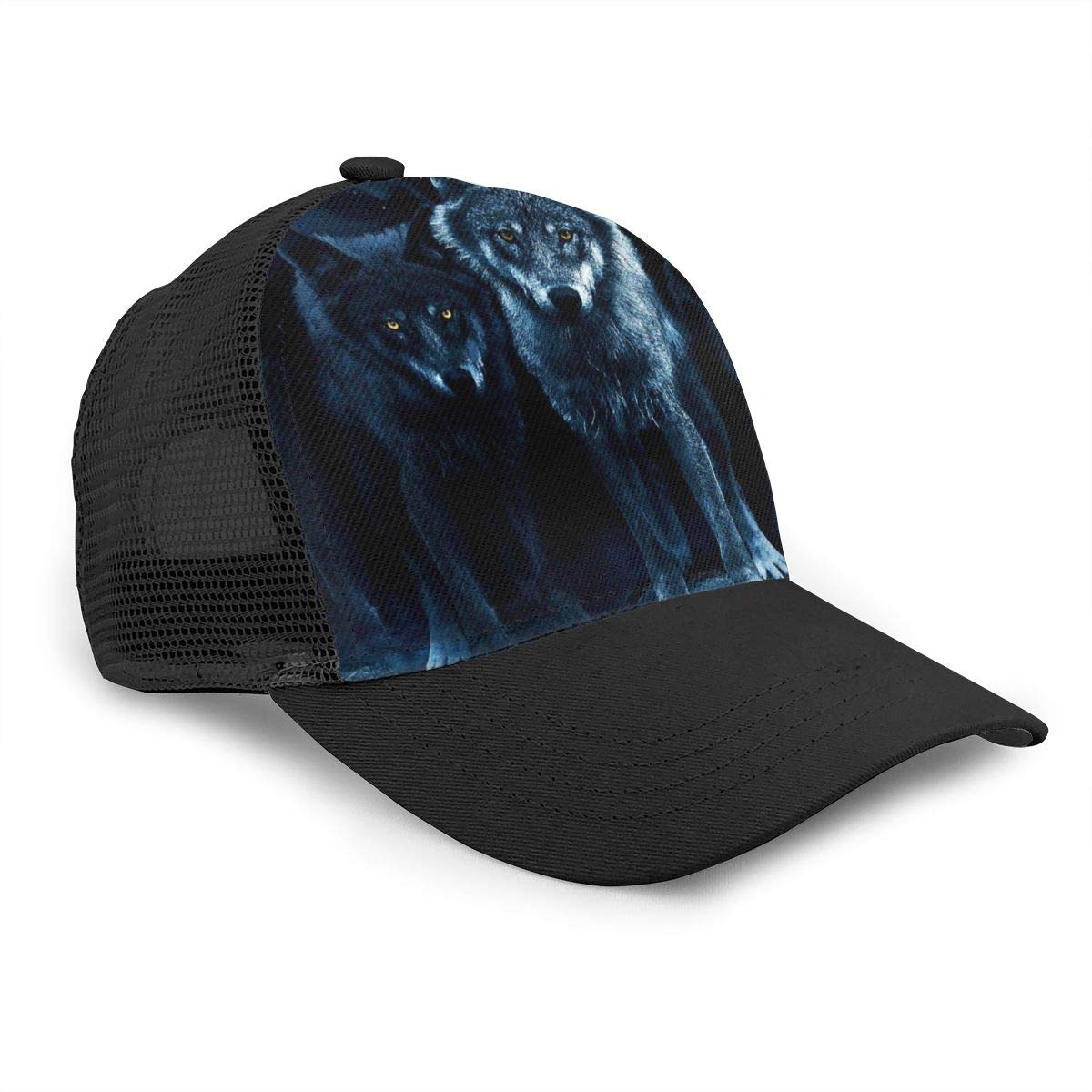 Mens Wolf Cool Flat Baseball Hat Solid Dad Hat for Unisex