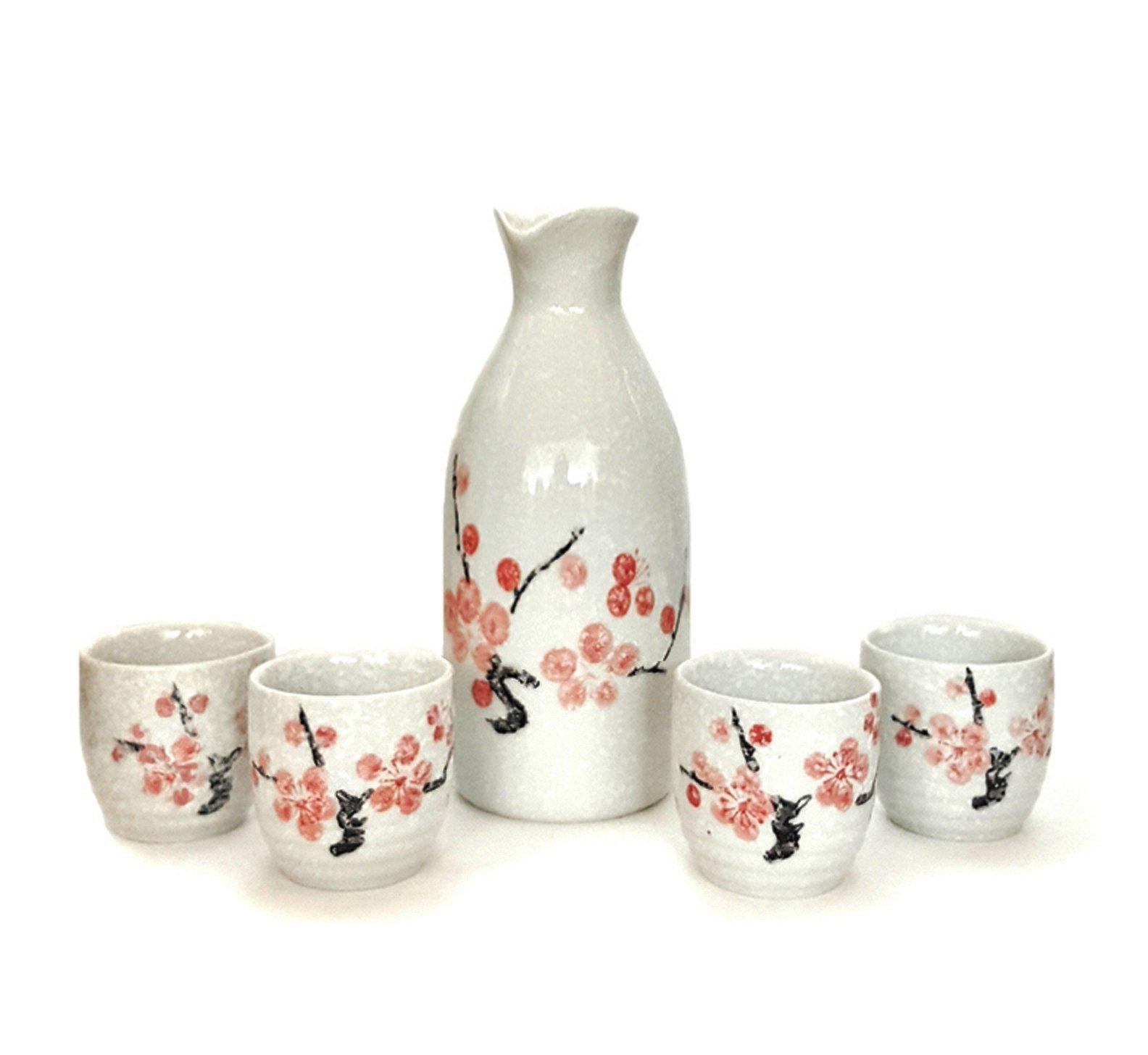 Happy Sales HSSS-SNCB28, Japanese 5 pc Sake Set Snow Cherry Blossom