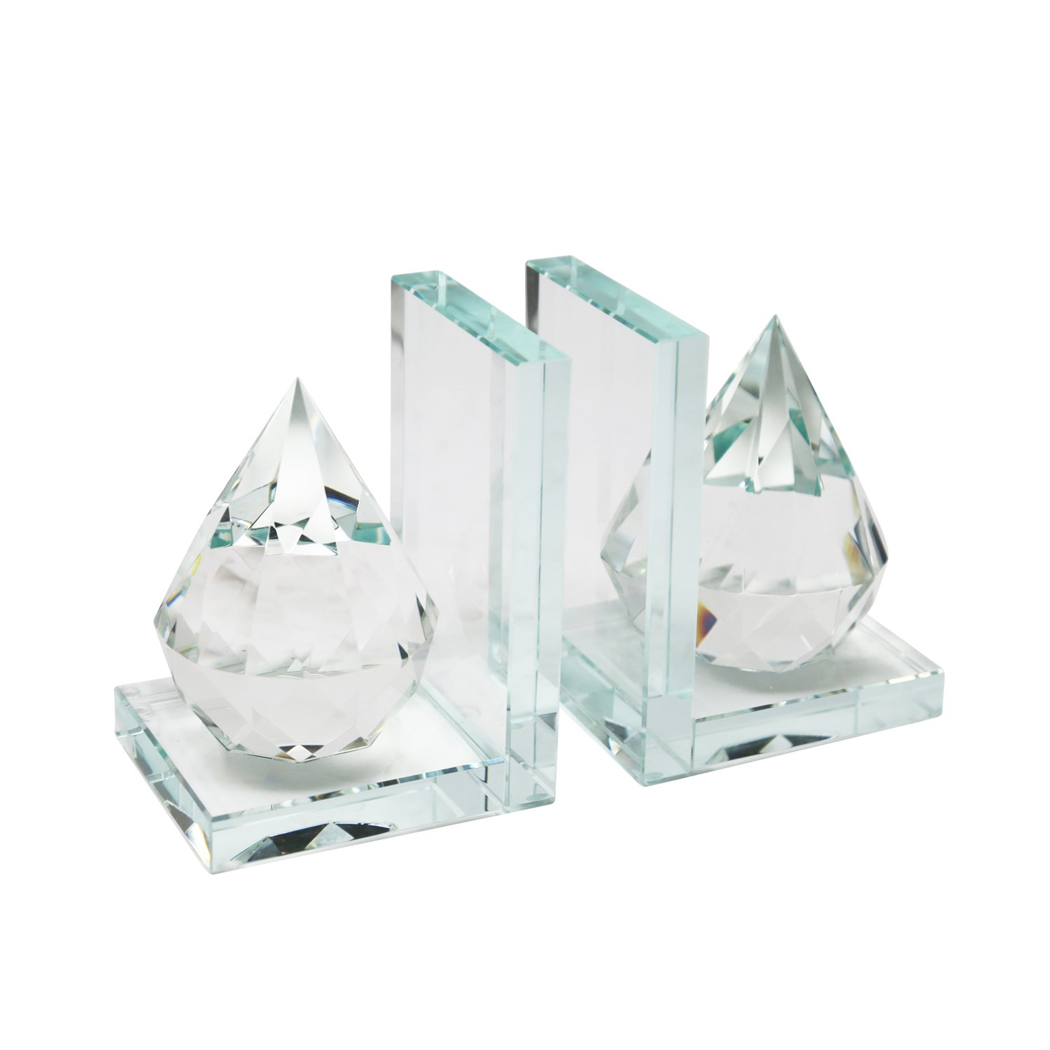 Sagebrook Home 13196-01 Crystal Bookend, 8'' x 4.5'' x 6'', Clear