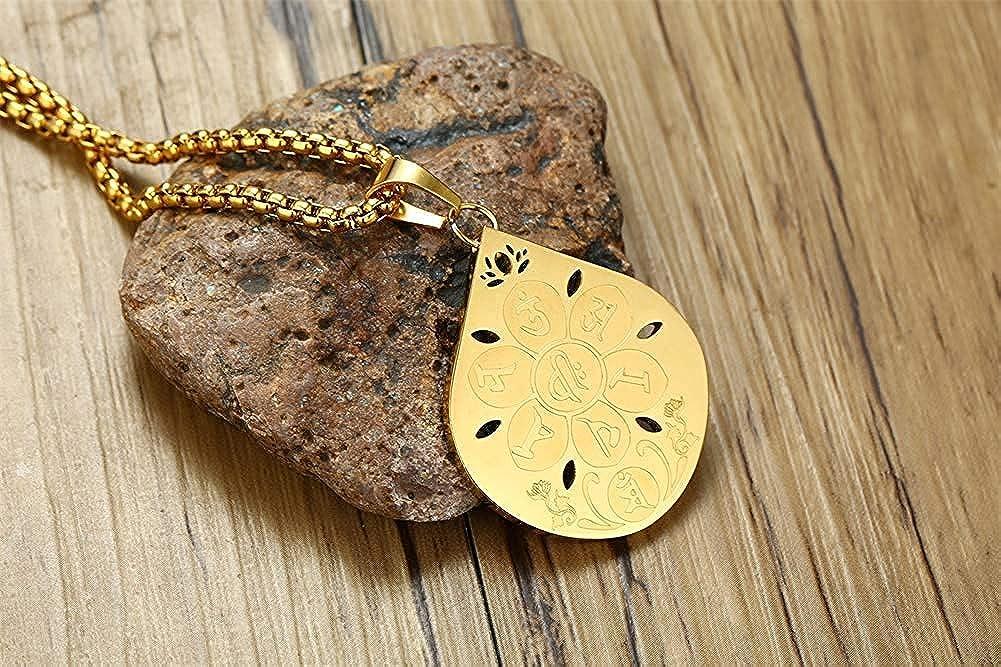 YABINI Gold Plated Stainless Steel Om mani Padme hum Namaste Buddhist Lotus Pendant Necklace 24 Chain