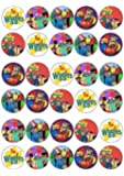 30 X WIGGLES MIXED IMAGES EDIBLE CUPCAKE TOPPERS PREMIUM RICE PAPER 218