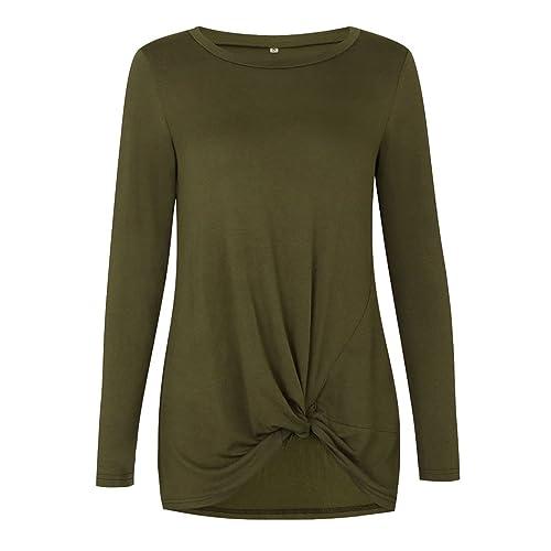 NiSeng Blusas De Mujer Camisetas Manga Larga Cuello Redondo Sudadera Tops Otoño Y Primavera