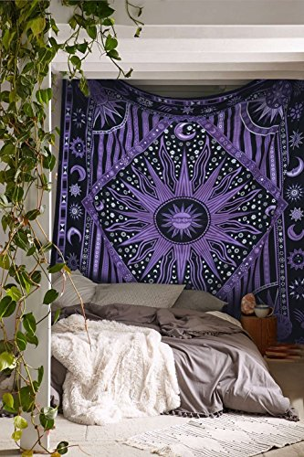 Popular Purple Burning Sun Tapestry Celestial Sun Moon Tapestries Hippie Hippy Wall Hanging Sun Moon Tapestry Psychedelic Tapestry Bohemian Wall Hanging Dorm Beach ()