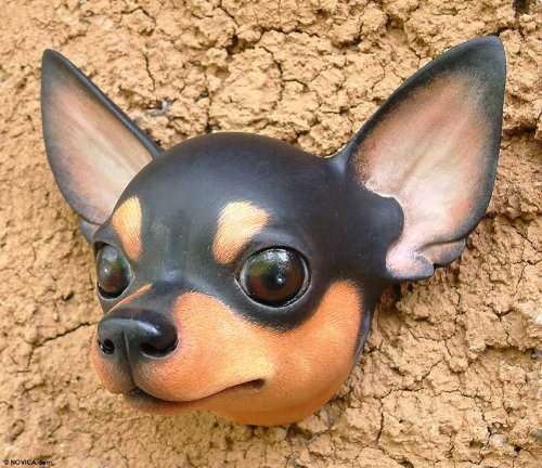 NOVICA Decorative Animal Themed Albesia Wood Mask, Brown, 'Courageous Black Chihuahua' by NOVICA