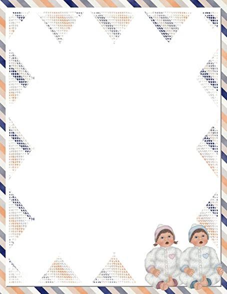 new baby boy girl letterhead stationery paper 26 sheets
