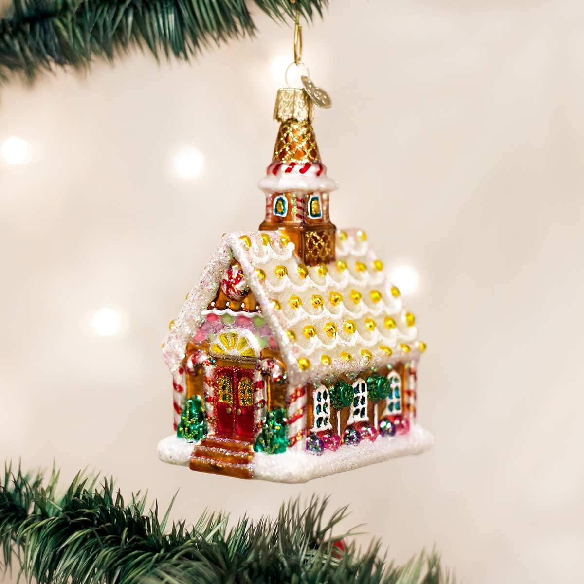 Personalized Gingerbread Church Glass Blown Christmas Ornament Tree Old World Christmas