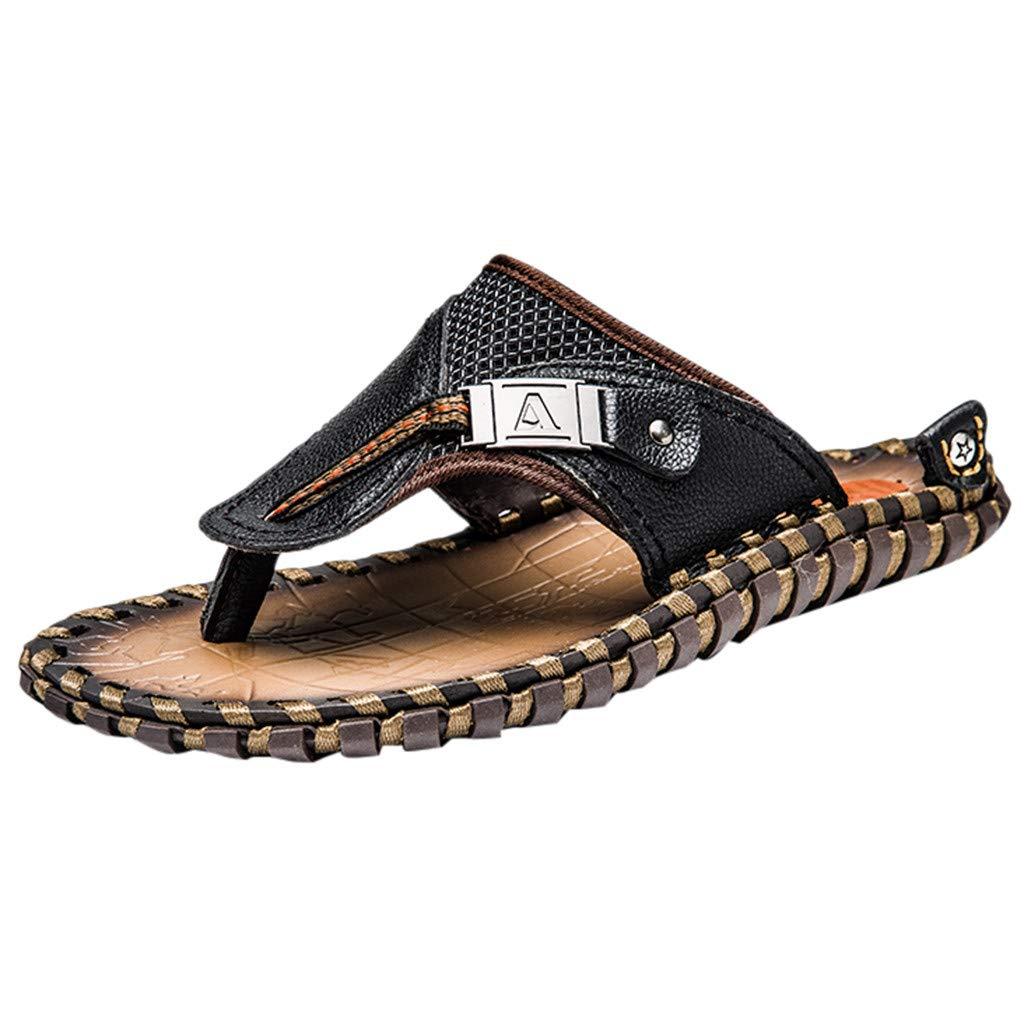 ✩HebeTop Mens Sandals Phantom   Athletic Flip Flops for Men with Contoured Footbed   Waterproof Black