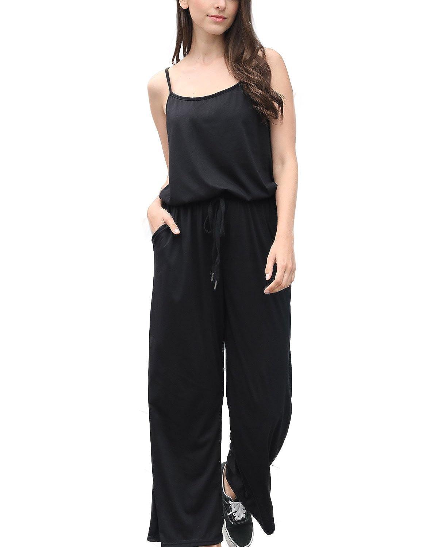 FIRENGOLI Women's Casual Spaghetti Strap Sleeveless Wide Leg Long Pants Jumpsuit Rompers